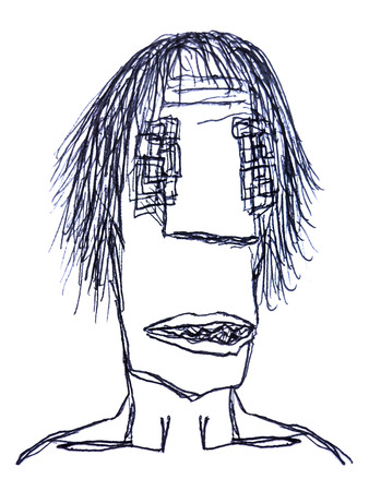 deranged: Pencil drawing technique raster illustration monster man with sad expression in black and white colors isolated in white background.