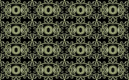 pale yellow: Modern baroque decorated ornate seamless pattern in pale yellow and black background.