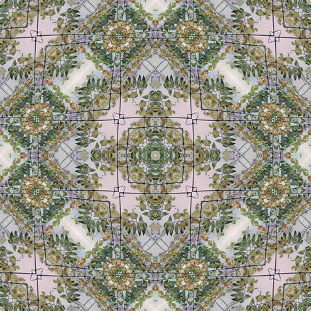 mixed colors: Luxury decorative modern abstract geometric floral ornate seamless pattern in mixed colors.