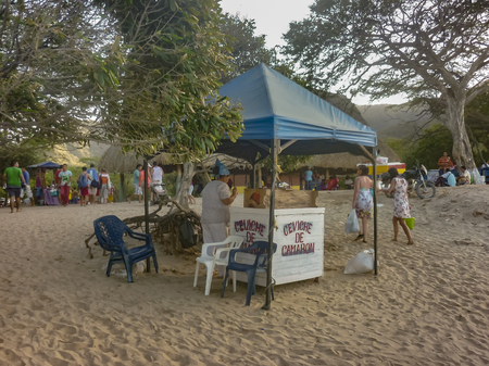 marta: SANTA MARTA, COLOMBIA, JANUARY - 2015 - Traditional beach stand food in Bahia Concha, one of the beaches of Tayrona National Park in Colombia.