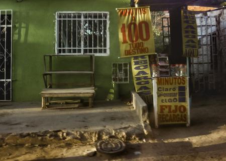 marta: SANTA MARTA, COLOMBIA, JANUARY - 2015 - Poor zone store facade in the outsides of Tayrona Park in Santa Marta, Colombia. Editorial