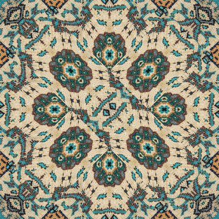 photo manipulation: Digital photo manipulation technique ethnic or indian style fabric geometric decorative seamless pattern artwork in mixed tones.