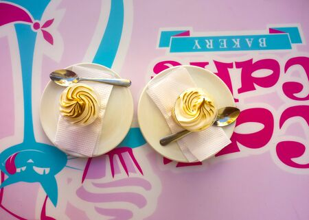 colombian: Top view of two tres leches cake, a traditional colombian dessert
