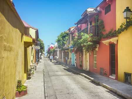 balustrades: CARTAGENA, COLOMBIA, DECEMBER - 2015 - Colonial style colorful buildings at historic center in Cartagena de Indias, the most famous watering place of Colombia.
