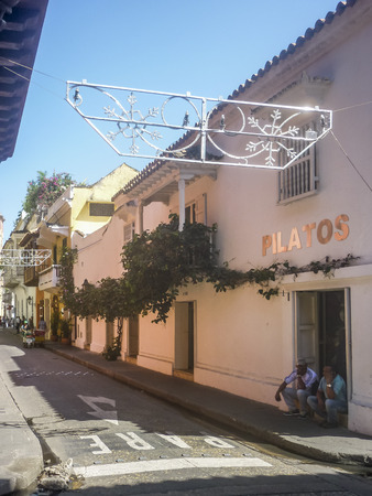 balustrades: CARTAGENA, COLOMBIA, DECEMBER - 2015 - Colonial style street at historic center in Cartagena de Indias, the most famous watering place of Colombia.