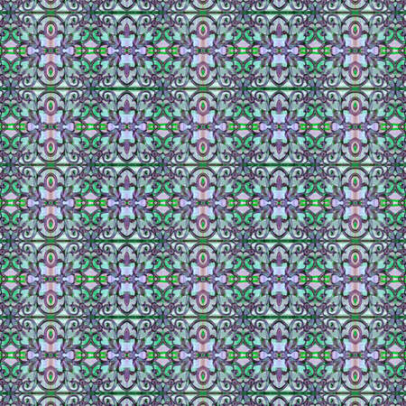 cold colors: Luxury decorative modern abstract geometric arabesque seamless pattern in mixed cold colors.