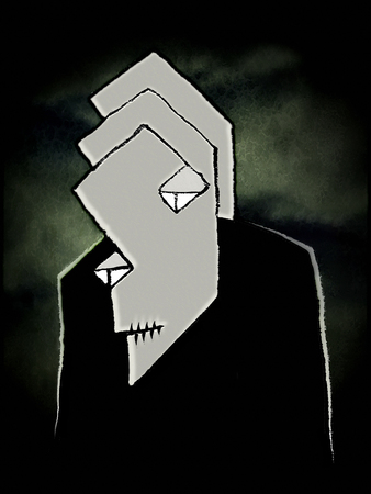 cartoon vampire: Pencil drawing artwork depicting a grey vampire with sad expression looking against dark green sky with clouds night background Stock Photo