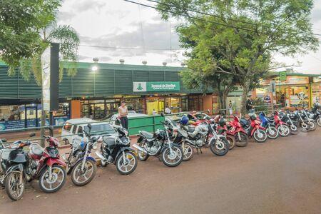 samll: PORT IGUAZU, ARGENTINA, MARCH - 2015 -Urban scene of commercial zone in Port Iguazu, a samll village which is located near the famous touristic Iguazu Falls.