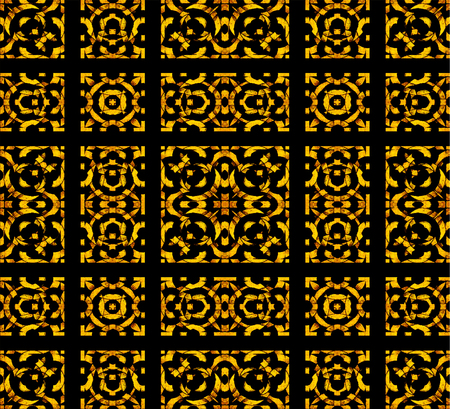 saturated: Arabesque check seamless pattern desgin in warm saturated tones against black background.