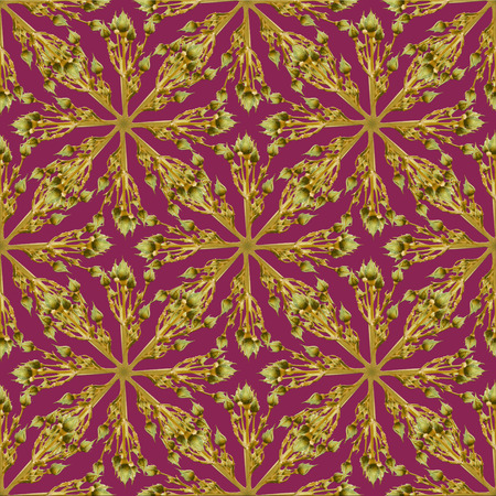 sophisticate: Digital technique nature motif geometric seamless luxury pattern in pink and yellow tones. Stock Photo
