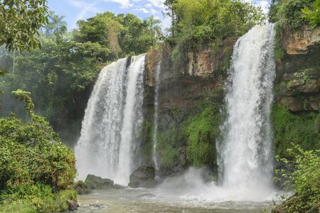 low angles: Spectacular long angle view of one of the waterfalls of Iguazu Park in argentinian border.