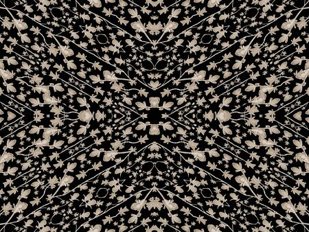 manipulated: Digital collage and manipulation technique geometric modern floral seamless pattern design in pale brown tones against black background