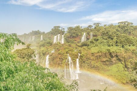 highs: Spectacular aerial view from the waterfalls at Iguazu Park in brazilian border. Stock Photo