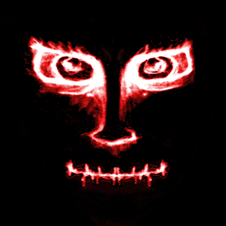 alien face: Hand draw illustration evil monster with angry expression front view portrait in saturated red adn white colors against black background.