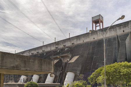 hydroelectricity: Itaipu hydroelectric power plant view from brazilian border