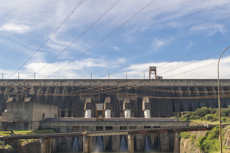 hydroelectric: Itaipu hydroelectric power plant view from brazilian border