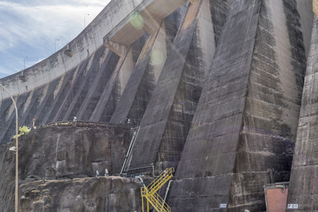 low angles: Photo taken from bus trip to installations and detail of Itaipu dam from the brazilian border.