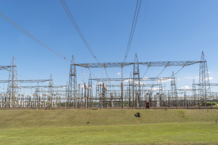 hydroelectricity: View from touristic bus of Itaipu dam park at the brazilian border. Stock Photo