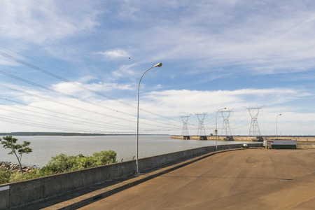 touristic: View from touristic bus of Itaipu dam park at the brazilian border. Stock Photo