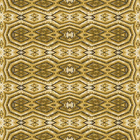 photo manipulation: Digital photo manipulation technique ethnic or indian style geometric decorative seamless pattern artwork in golden tones.