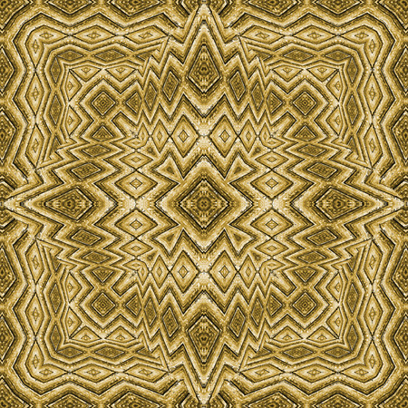 photo manipulation: Digital photo manipulation technique ethnic or indian style geometric decorative ornate seamless background artwork in golden tones. Stock Photo