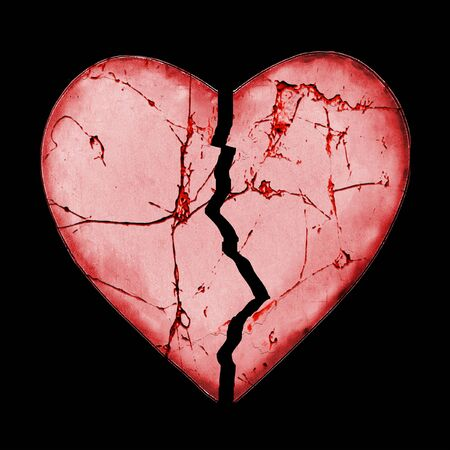 heart abstract: Broken heart love concept graphic isolated against black background.