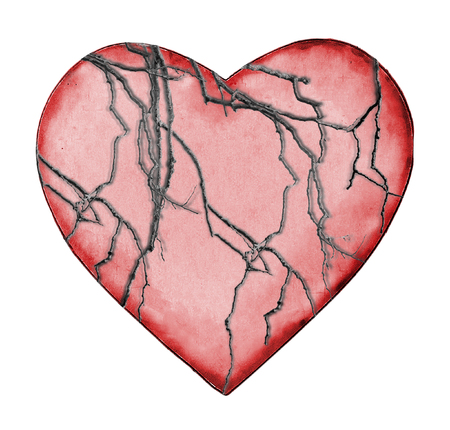 wasted: Old heart love concept graphic isolated against white background. Stock Photo
