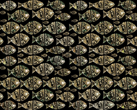 fishes pattern: Raster illustration decorated fishes pattern in golden tones and black background. Stock Photo