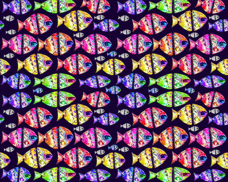 manipulated: Raster illustration decorated fishes pattern in multicolored tones and blue background.