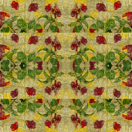 mixed colors: Digital collage vintage style floral geometric seamless pattern in mixed colors and textured background