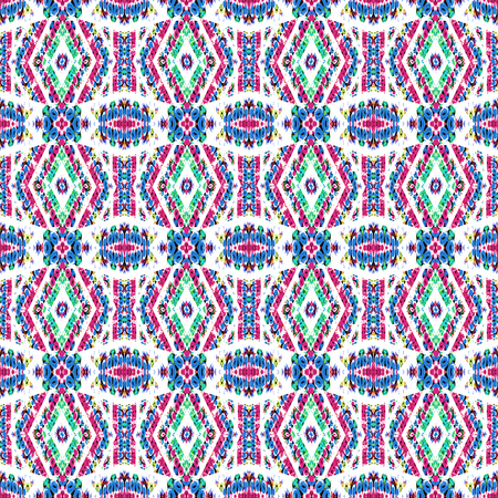 able: Digital art technique tribal or indian style complex geometric decorative seamless pattern artwork in vivid multicolorred tones in white background