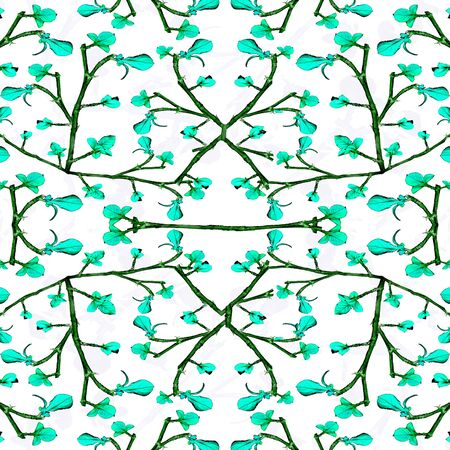 chinoiserie: Digital collage technique floral lace motif seamless pattern in turquoise and black colors against white background.