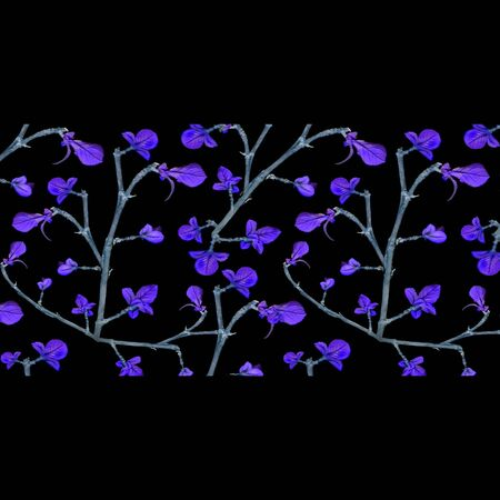style artistic: Digital collage technique floral lace motif stripe pattern in violet and gray colors against black background. Stock Photo