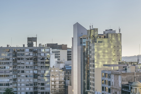 eclectic: Skyline aerial view of eclectic style architecture of Montevideo, the capital city of Uruguay in South America Stock Photo