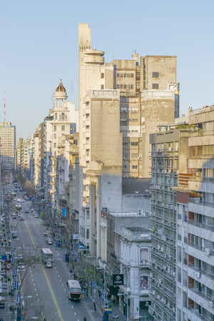 eclectic: MONTEVIDEO, URUGUAY, AUGUST - 2015 - Perspective aerial view of eclectic style architecture and 18 de julio avenue of Montevideo, the capital city of Uruguay in South America