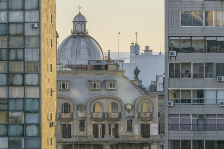eclectic: Aerial view of eclectic style architecture of Montevideo, the capital city of Uruguay in South America