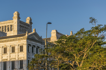 legislative: Low angle view of top side of neoclassical style landmark  legislative palace of Uruguay, located in the capital Montevideo