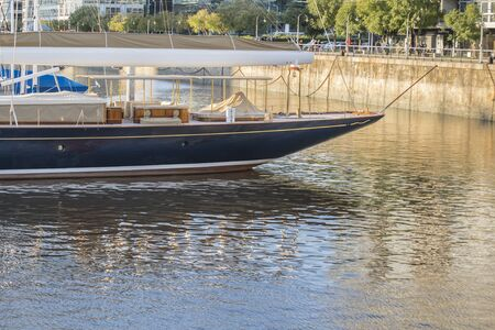 aground: Elegant boat aground in Puerto Madero, a luxury zone at the center of Buenos Aires, Argentina.
