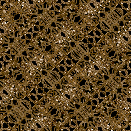 Digital art collage techinque luxury modern futuristic decorative geometric pattern mosaic design in brown and black tones. Stock Photo