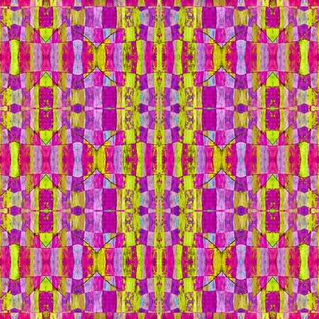 technologic: Digital technique modern abstract geometric check seamless pattern in vivid mixed tones. Stock Photo