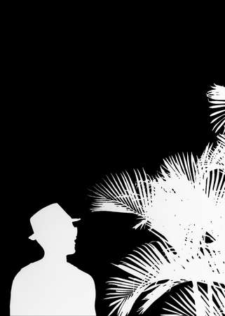 beach side: Raster collage silhouette illustration of side view cool man with hat watching the palm trees in black and white tones- Stock Photo