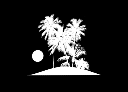 trees silhouette: Black and white raster collage silhouette illustration of tropical island with palm trees and sun or moon Stock Photo