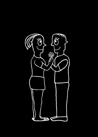gazing: Love or valentine day concept illustration of couple with happy expression gazing into the eyes and holding a flower with her hands isolated against black background Stock Photo