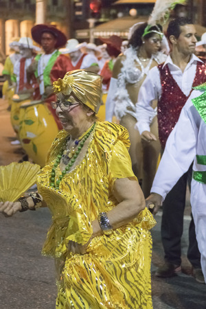 montevideo: MONTEVIDEO, URUGUAY, JANUARY - 2016 - Carnival group at inaugural parade of carnival of Montevideo, Uruguay