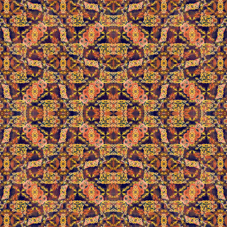 mixed colors: Digital collage technique modern refined ornate decorative abstract motif seamless pattern mosaic design in mixed colors Stock Photo