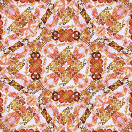colores calidos: técnica de collage digital moderno diseño decorativo adorno abstracto sin fisuras patrón de mosaico adornado refinada con colores cálidos y mixtos fondo blanco