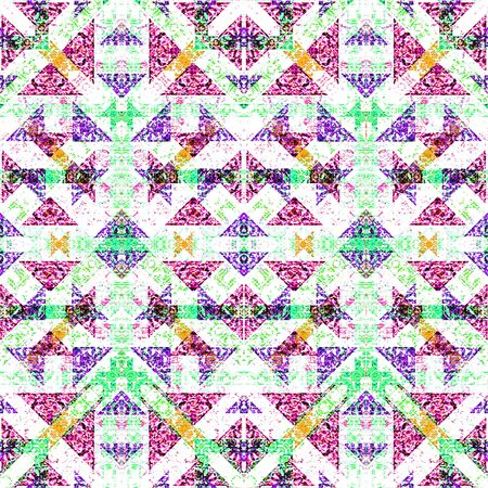 refined: Digital collage technique modern refined ornate decorative abstract motif seamless check pattern mosaic design in mixed vivid colors against white background