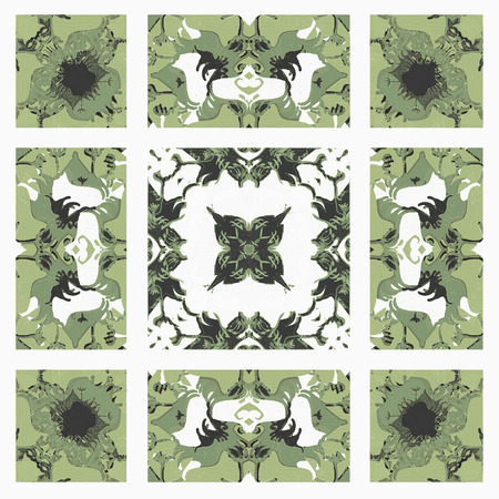 desaturated colors: Oriental style decorative abstract ornate  check pattern design in pale green tones and white background Stock Photo