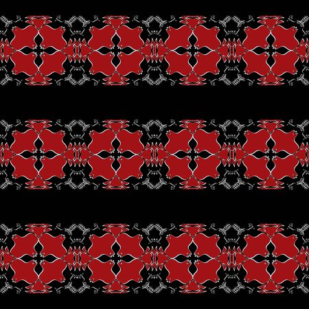 tons: Horizontal stripes ornate decorated pattern background red tons and black colors. Stock Photo