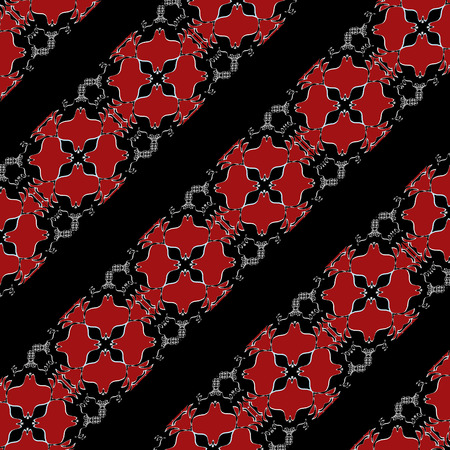 diagonal stripes: Diagonal stripes ornate decorated pattern background red tons and black colors.